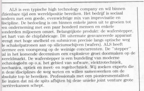 19840511 Intermediair ASML eerste personeelsadvertentie ALS beschrijving